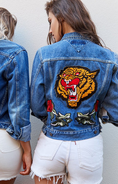 Vintage Tiger Rose Denim Jacket