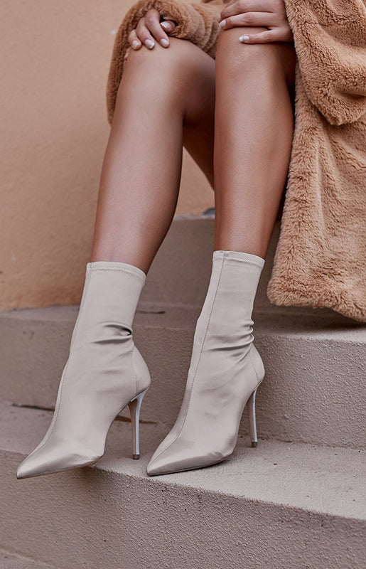 Tony Bianco Davis Boots Blonde Stretch Satin