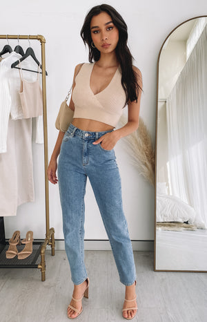 Tori Knit Crop Top Cream