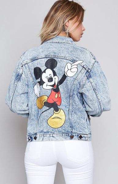 Vintage Dancin' Mickey Acid Wash Denim Jacket