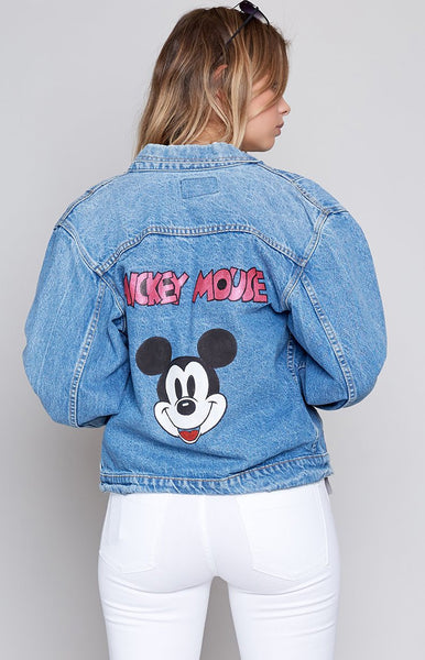Vintage Cartoon Time Mickey Mouse Denim Jacket