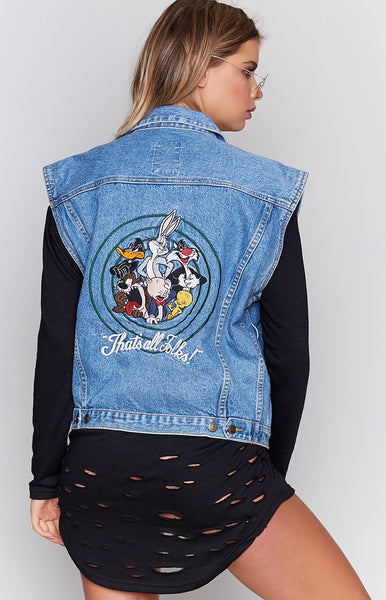 Vintage Looney Tunes 'That's All Folks' Denim Vest
