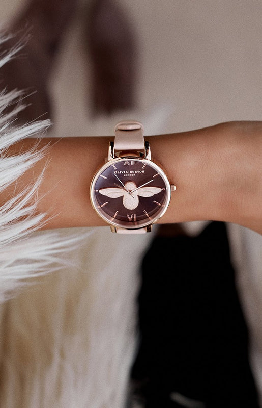 Olivia Burton Animal Motif Brown Dial Moulded Bee Watch Nude Peach and Rose Gold