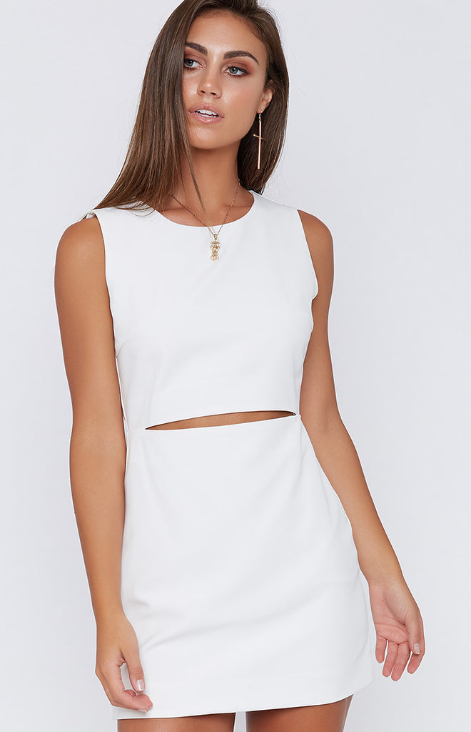 Haden Front Slit Dress White
