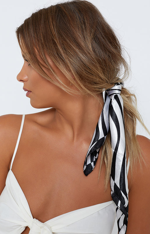 Racing Stripes Silky Bandana Black & White