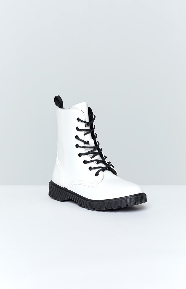 Kari Lace Up Boots White