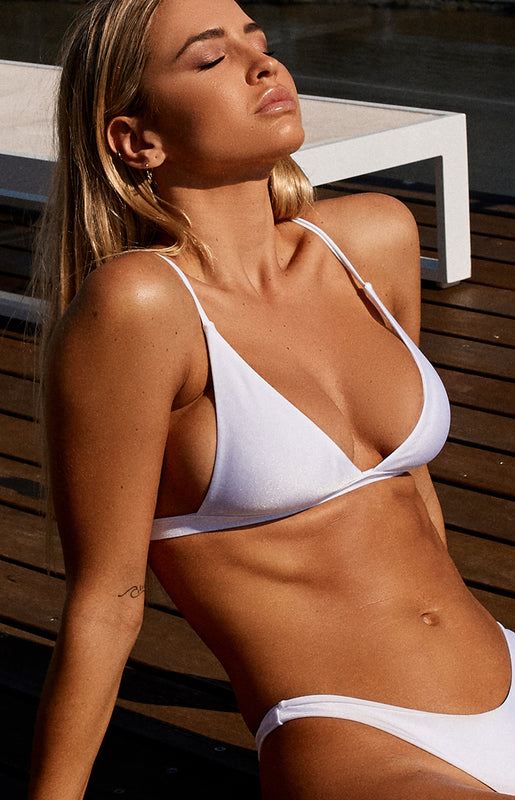 9.0 Swim Caicos Triangle Bikini Top Metallic White