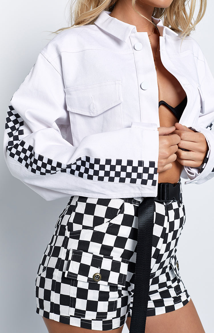 Countdown Cropped Jacket White