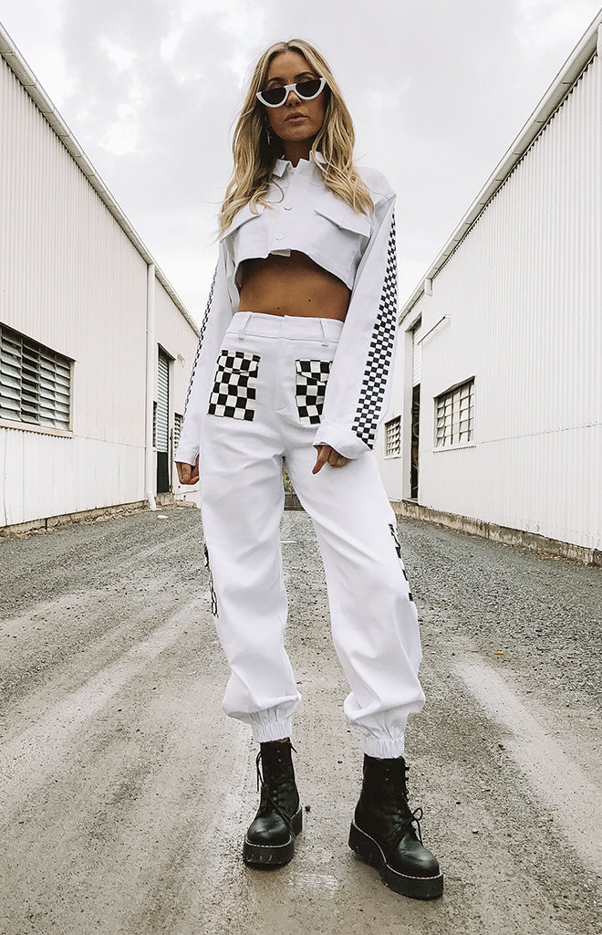 Antares Cargo Pants Checkerboard White
