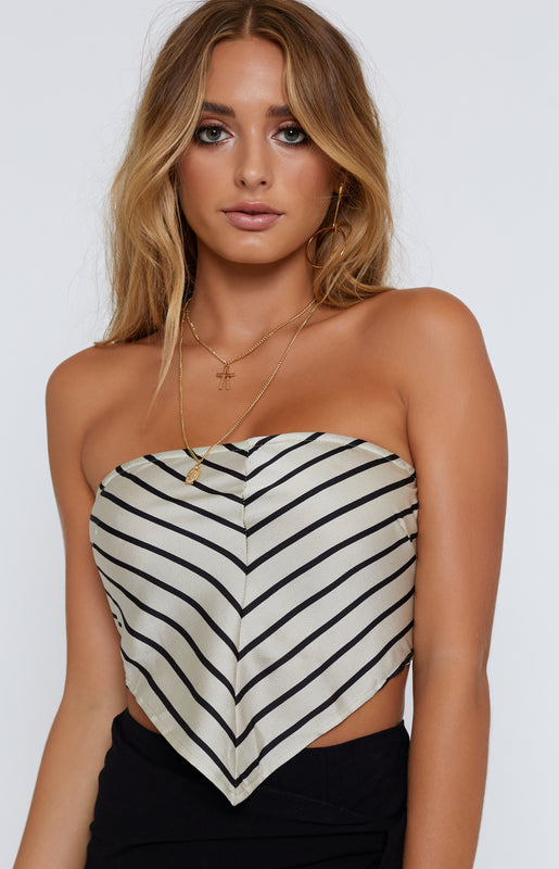 Hello Sailor Crop Beige Stripe