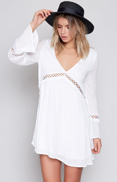 Fringe Benefit Dress White