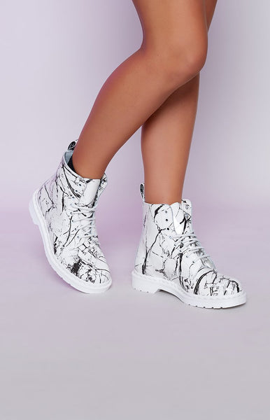 Dr. Martens Pascal 8 Eye Boot White Marble