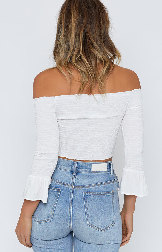 Carousel Off Shoulder Crop White