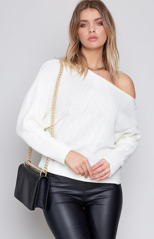 Free Hugs Off Shoulder Knit Cream