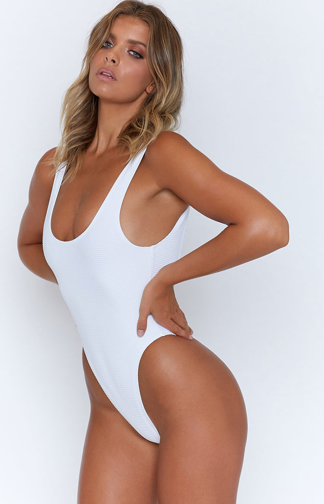 9.0 Swim St Barts One Piece White Ribbing