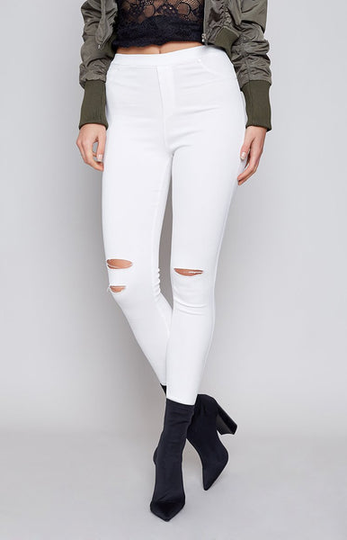 Bad Habit Ripped Jeggings White