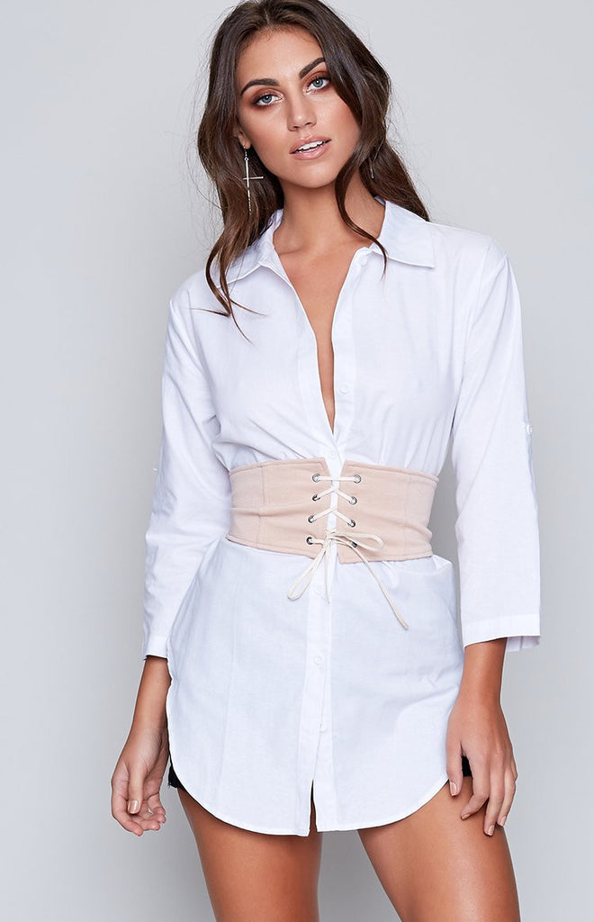 Alexa Shirt Dress and Corset Set White Beige