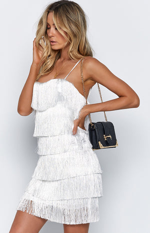 Quinn Tassel Dress White