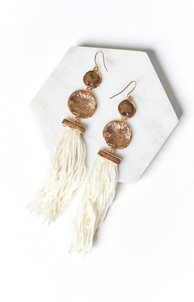 Eclat Boheme Tassel Earrings White