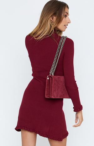 Dark Rose Dress Maroon