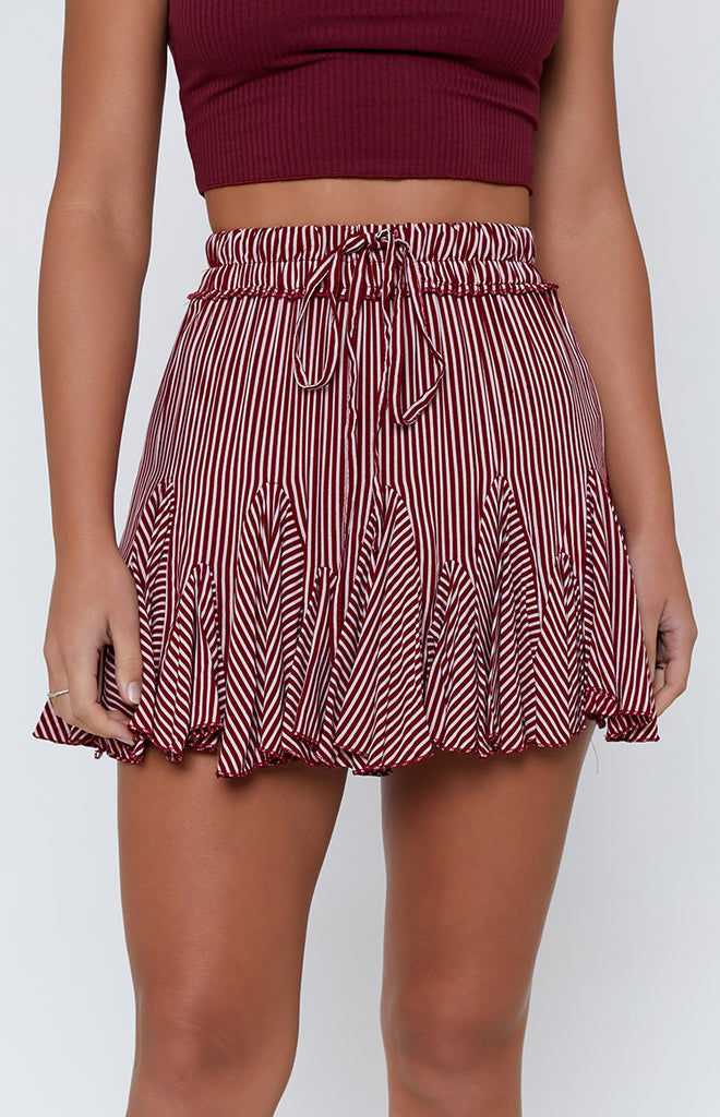 Round Up Skirt Burgundy Stripe