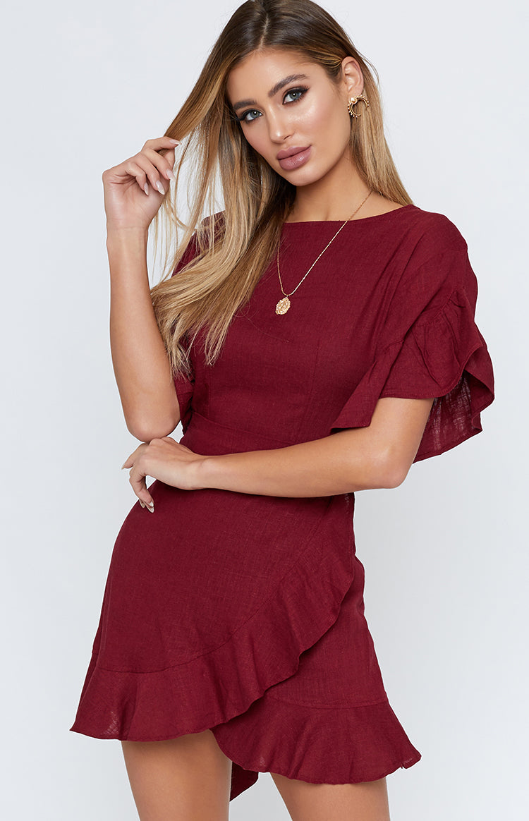 Fonda Wrap Dress Wine
