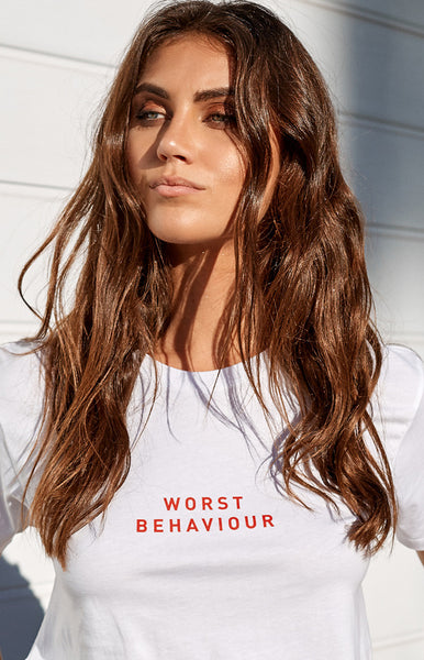 Worst Behaviour Tee White