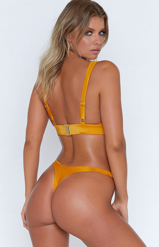9.0 Swim Bahamas Bikini Bottoms Metallic Mustard