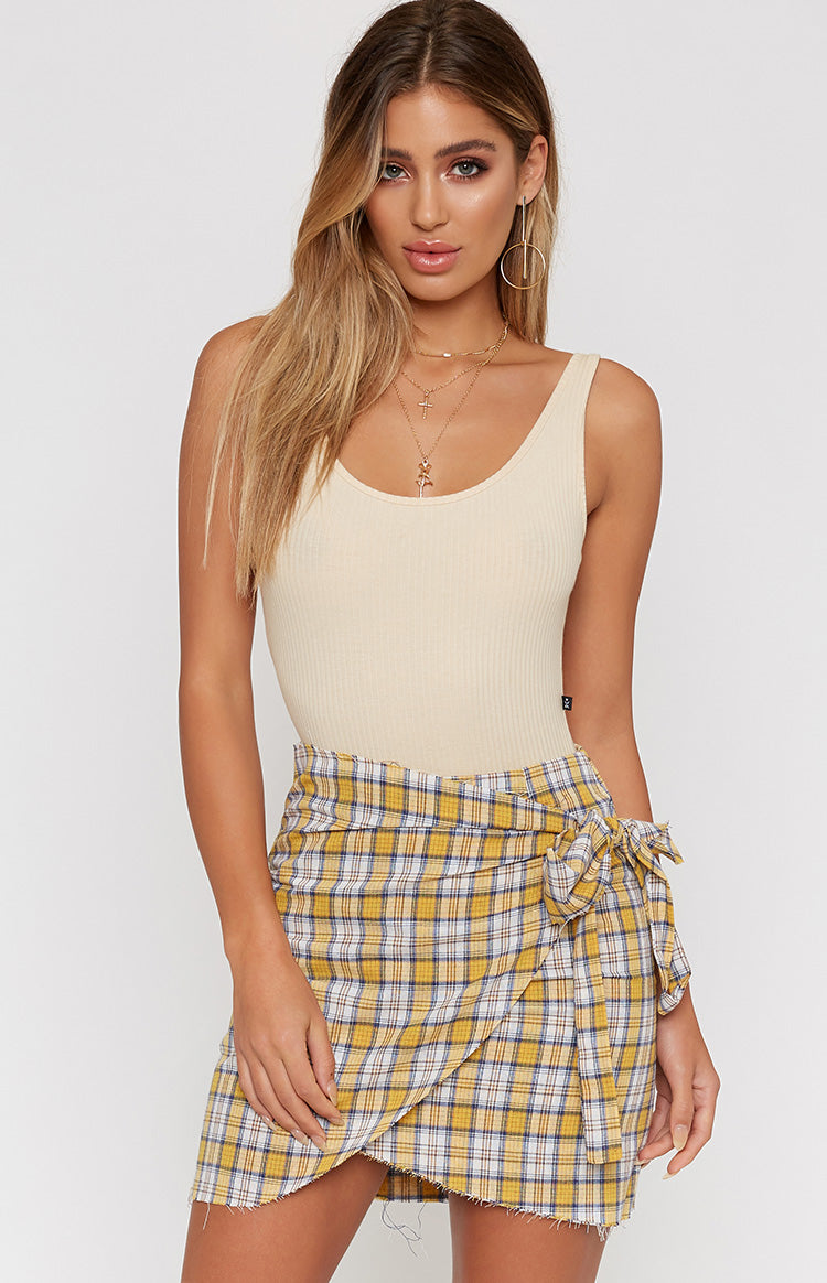 Honey Pot Skirt Yellow Check