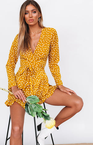 Step Up Long Sleeve Dress Mustard Polka