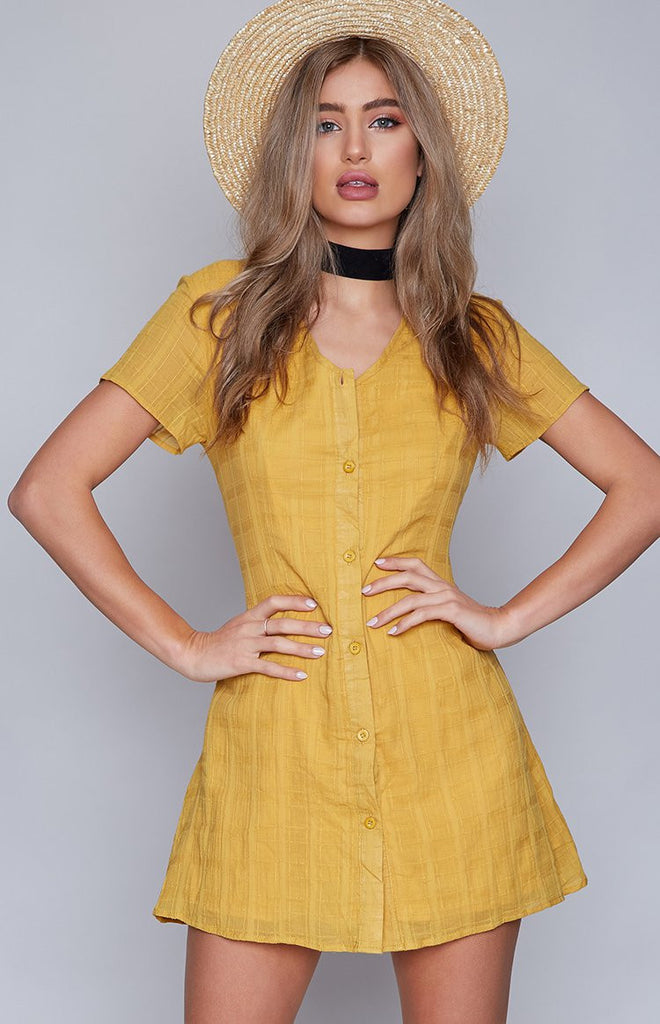 Head In The Clouds Dress Mustard