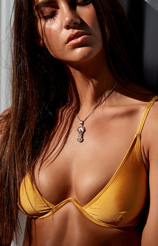 9.0 Swim Montego Underwire Bikini Top Metallic Mustard