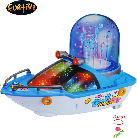 Bump-N-Go Happy Fountain Boat with Lights and Sound, Truck Toy for Kids/Boys