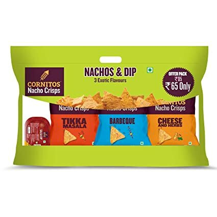 Cornitos 3 Packs (3 Exotic Flavor) of Nachos Crisps 30g+ cornitos Salsa Dip