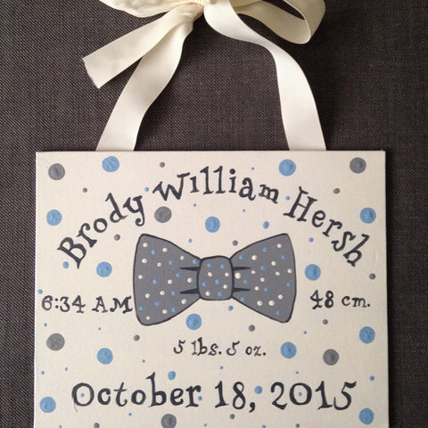 Painted Birth Announcement