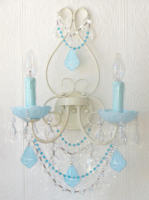 Double light Wall Sconce with Aqua-Blue crystals