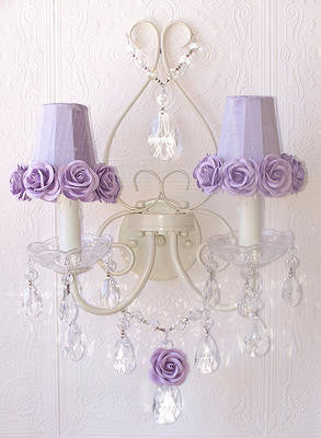 Double light Wall Sconce with Lavender rose-shades