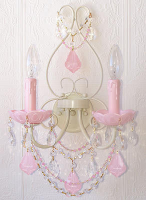 Double light Wall Sconce with Opal Pink Crystals