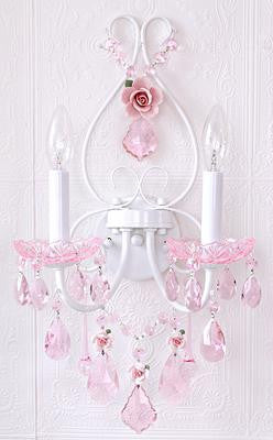 Fairy-tale Sconce, Pink Crystal & Porcelain roses
