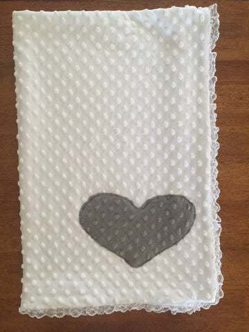 Minky Dimple Heart Blanket with Lace Trim