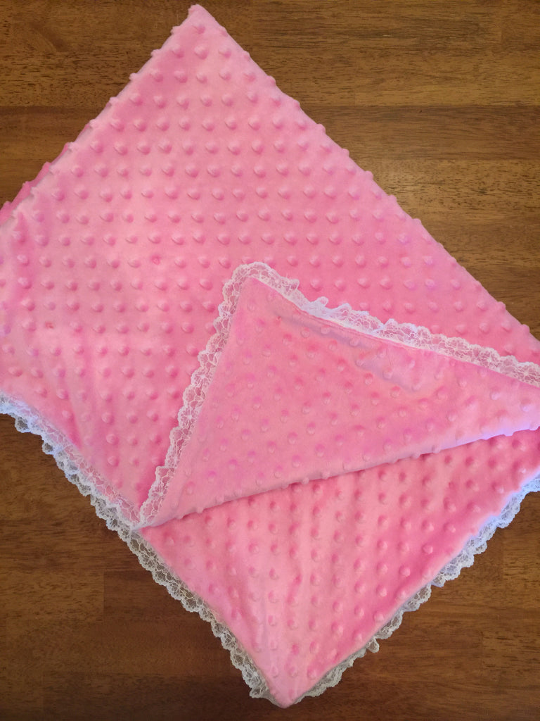 Minky Dimple Blanket with lace trim