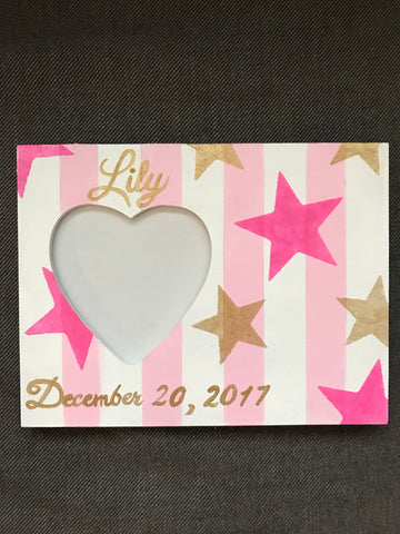 Heart and Star Birthdate Frame