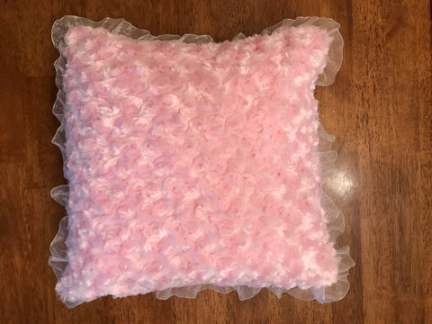 Cozy Pink Pillow With Satin Trim