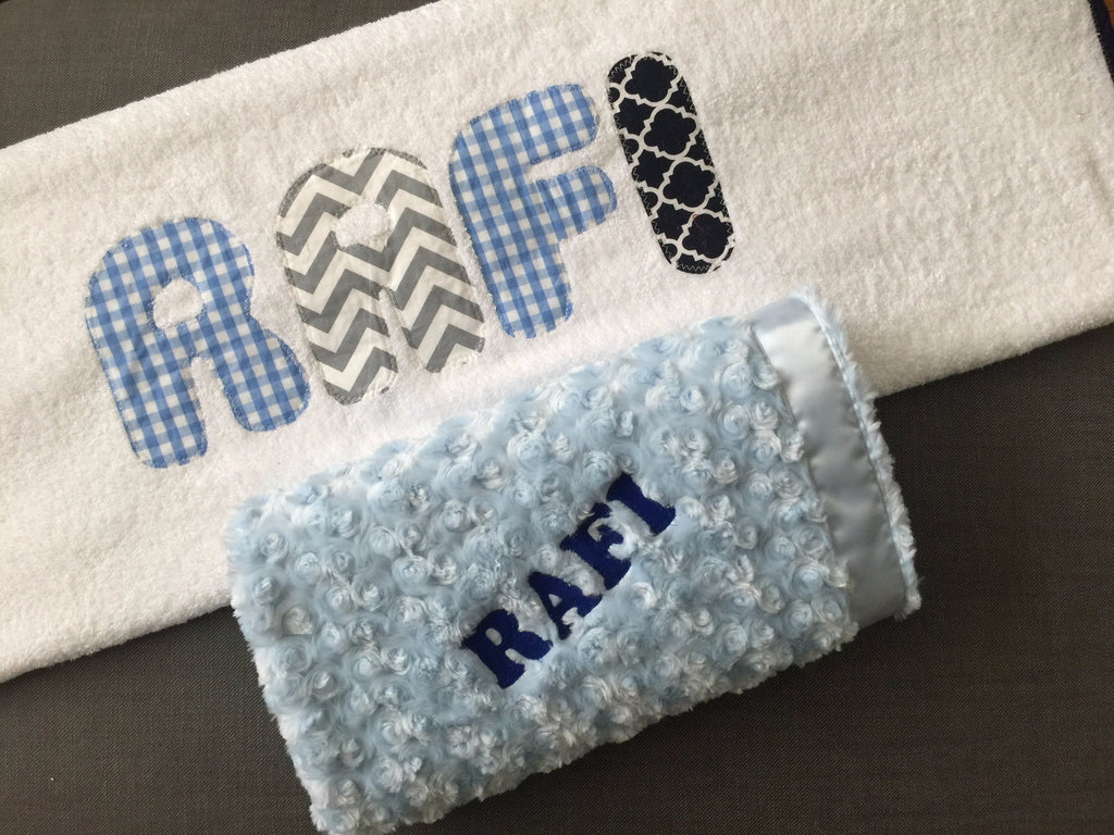 Cozy Blue Blanket with Jumbo Towel