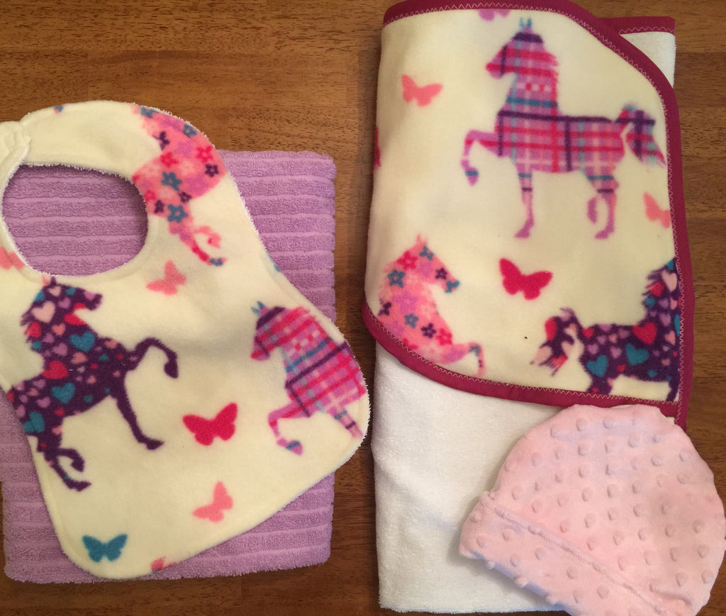 Unicorn towel set with bib and hat