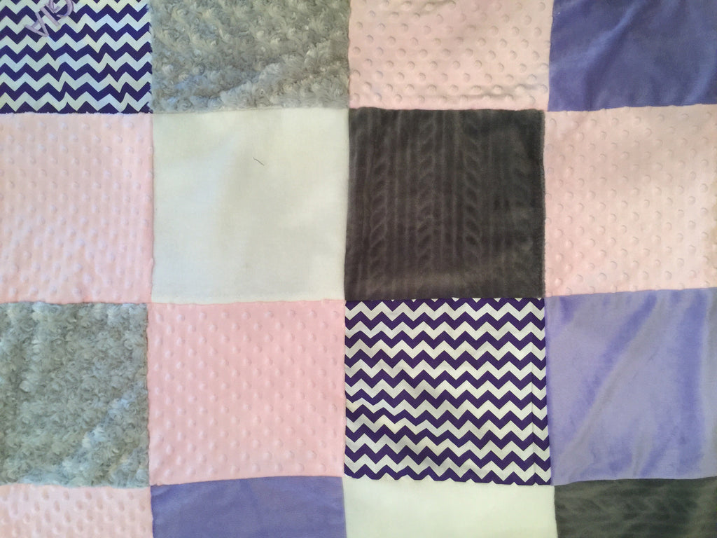 Purple grey and pink chevron quilt