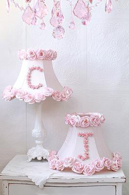 Personalized Initial Pink Roses lamp