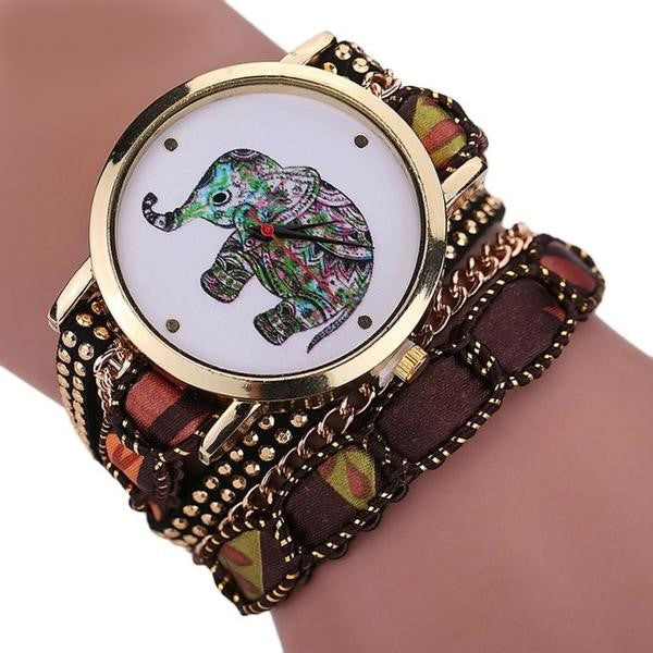 Women Elephant Pattern Quartz  Bracelet Bayan Watches