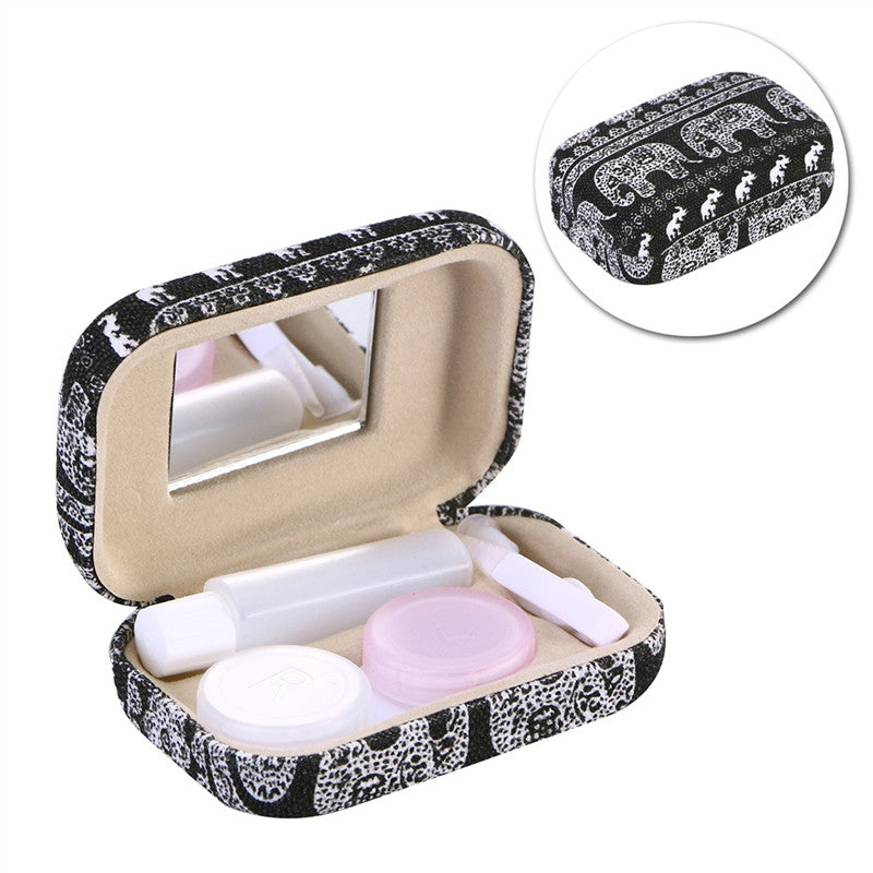 Contact Lens Carrying Case Elephant Print Contact Lens Travel Case with Mirror