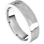 Textured White Gold Flat Wedding Band